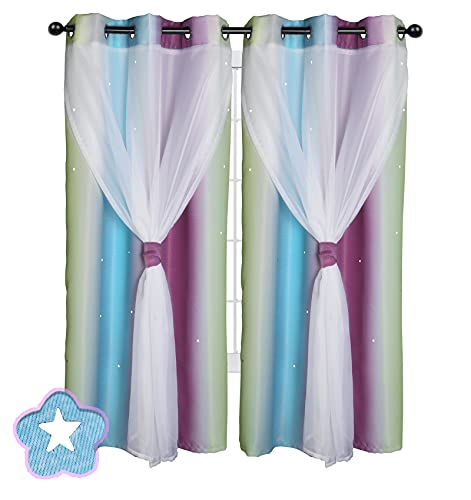 Kids Curtains, Hi.Fancy Curtains for Girls Bedroom Living Room, Double-Layer Gradient Lace Kids Star Curtains, 2 Panels (42 x 84 inches, Purple/Blue)