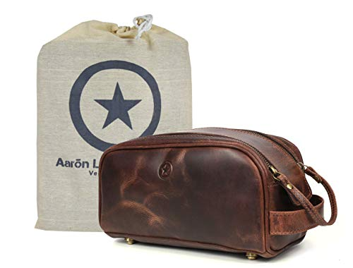 10' Premium Leather Toiletry Travel Pouch With Waterproof Lining | King-Size Handcrafted Vintage Dopp Kit By Aaron Leather Goods (Dark Brown - Dual Zipper)