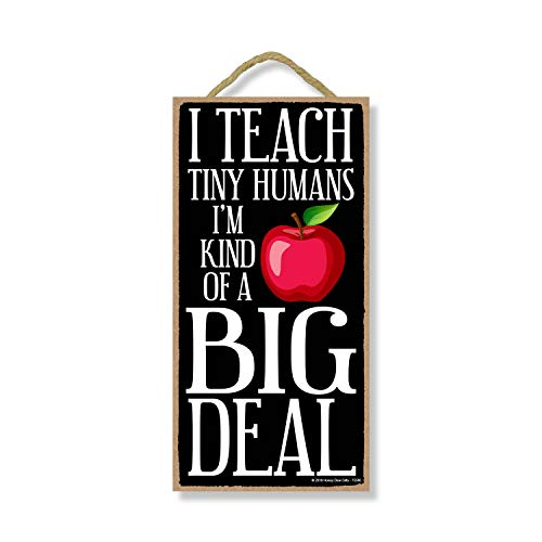 Honey Dew Gifts I Teach Tiny Humans I'm Kind of a Big Deal 5 inch by 10 inch Hanging Signs, Wall Art, Decorative Wood Sign, Teacher Gifts
