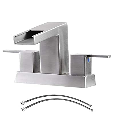 Ufaucet Commercial 2 Handle Centerset Waterfall Brushed Nickel Bathroom Faucet,Bathroom Lavatory Vanity Sink Faucets with Supply Hose