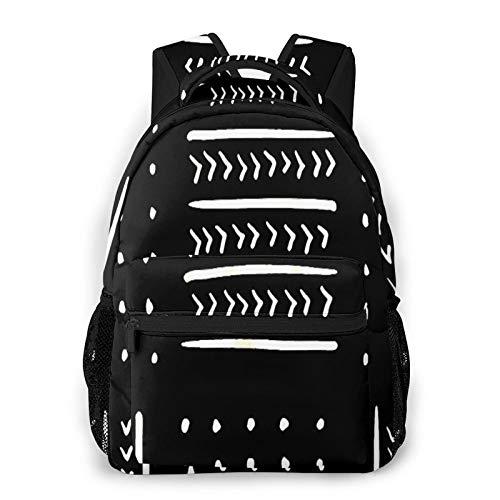 CVSANALA Multifuncional Casual Mochila,Paño de barro en blanco y negro,Paquete de Hombro Doble Bolsa de Deporte de Viaje Computadoras Portátiles