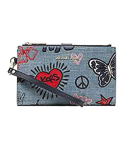 very limited quantity. Just arrived. Done in sketch-printed denim and embroidered with playful patches, this sleek wallet has two zip sides that unfold to reveal a center with pockets for all the essentials, from credit cards to your smartphone. A wr...