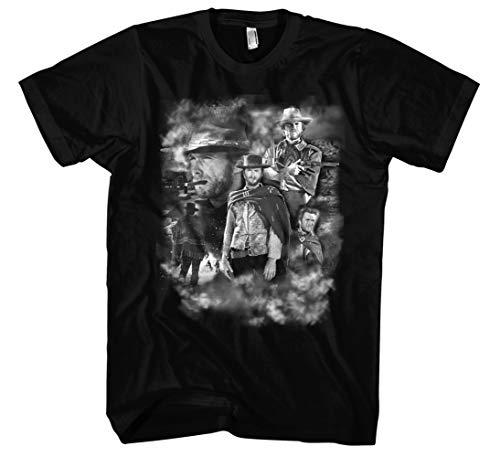 Preisvergleich Produktbild Clint Eastwood Männer und Herren T-Shirt / Vintage Retro Western Movie Kult (XXL,  Schwarz Druck:Weiß)