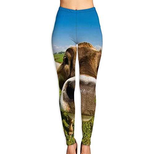 JJsister Women 's Wallpaper Desktop Kuh Bedruckte Leggings Yoga Workout Leggings in voller Länge Hosen Soft Capri