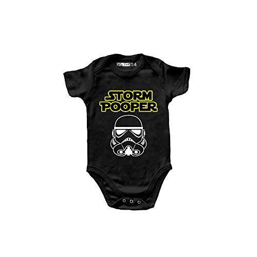 Body de bebé de manga corta divertido – Storm Pooper – Body para bebé unisex 100% algodón transpirable – Ropa de primera infancia para niño, Negro , 6-12 Meses