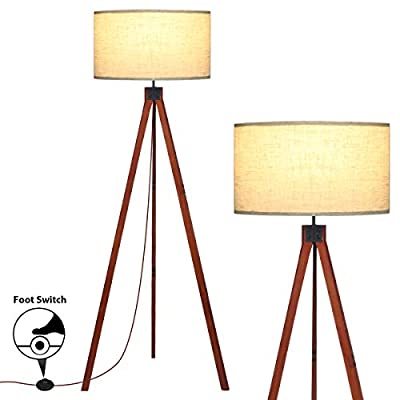 Floor Lamps for Living Room, KINGSO Wood Tripod Floor Lamp, Standing Light Flaxen Lamp Shade with E26 Bulb Base, Floor Lamps for Bedrooms Study Room Office