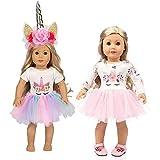 Amycute - Ropa de muñecas, vestido de impresión de unicornio, conjunto y diadema de unicornio para n...
