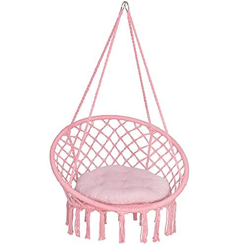 SPRINGOS Hängesessel gestepptes Kissen Makramee-Design Schnurschaukel Hängestuhl m. Fransen Indoor Outdoor (Rosa)