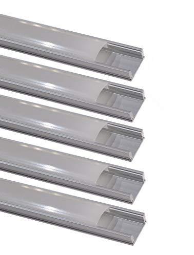 Pack 5x Perfil de Aluminio 1m para Tira de LED con Cubierta Blanca Lechosa. Los tapones de los extremos y clips de montaje incluidos en el Pack.
