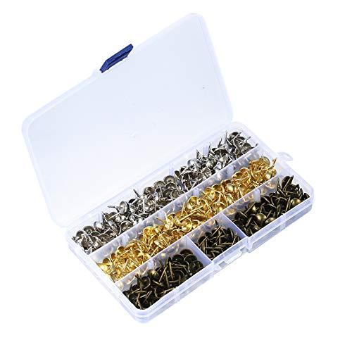 300 Stück Polsternägel Reißnägel, Ziernägel, Vintage Sessel Reißnägel mit Aufbewahrungsbox für Möbel, Bett (Bronze, Silber, Gold)