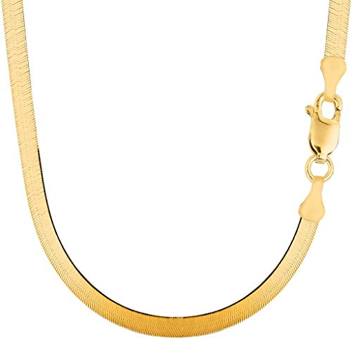 14k Solid Yellow Gold 5.00mm Shiny Imperial Herringbone Chain Necklace or Bracelet for Pendants and Charms with Lobster-Claw Clasp (7', 8', 16', 18' 20' or 24 inch)