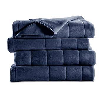 Sunbeam Heated Blanket | 10 Heat Settings Quilted Fleece Newport Blue Twin - BSF9GTS-R595-13A00