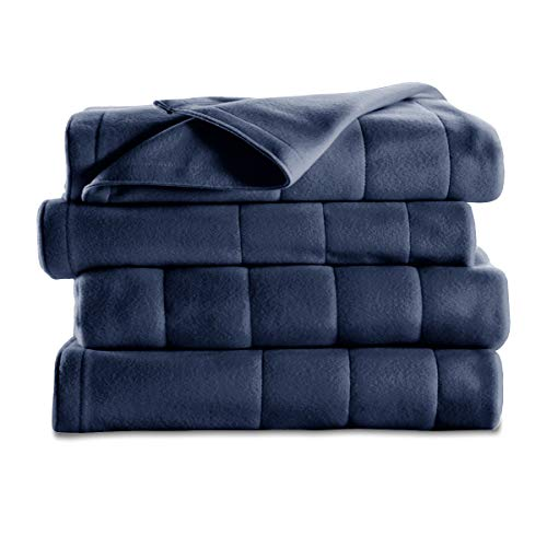 Sunbeam Heated Blanket | 10 Heat Settings, Quilted Fleece, Newport Blue, Twin - BSF9GTS-R595-13A00