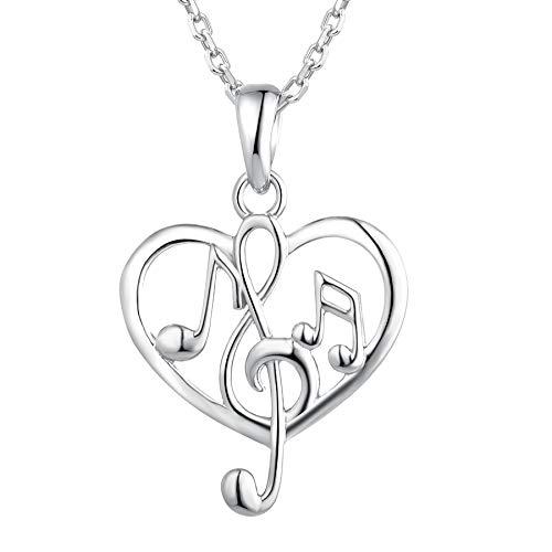 Starchenie Music Note Necklace 925 Sterling Silver Treble Clef Heart Pendant for Women