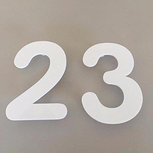 Servewell bianco lucido, finitura galleggiante, numeri civici arrotondati, 20 cm