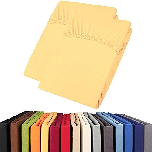 aqua-textil Viana Spannbettlaken Doppelpack 90x200-100x200 cm gelb Baumwolle Spannbetttuch Jersey Laken