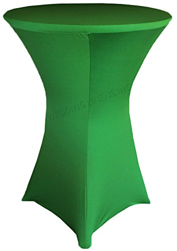 Wedding Linens Inc. Wholesale (200 GSM) 36 in x 42 in Cocktail Highboy Spandex Stretch Fitted Round Table Cover Tablecloths Emerald