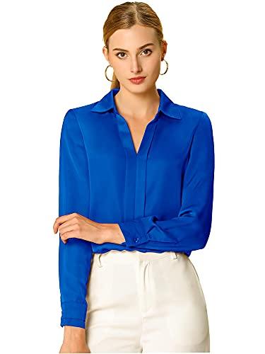 Allegra K Camisa De Trabajo Manga Larga Cuello En V Blusa Oficina Elegante para Mujer Azul Real S