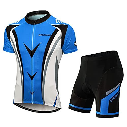 FEIXIANG Conjunto de maillot de ciclismo para hombre,  camiseta de manga corta y pantalones cortos con acolchado de gel 4D,  transpirable,  secado rápido azul L