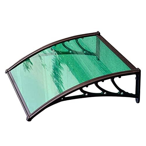 Tejadillo de Protección 60cm × 80cm Marquesina para Puertas y Ventanas con Soporte de Aluminio Curvo Marrón,60cm X 200cm
