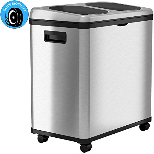 iTouchless 16 Gallon Touchless Sensor Trash Can/ Recycle Bin with Wheels, 60 Liter Stainless Steel Dual-Compartment (2 x 8 Gallon) Kitchen Recycling and Garbage Trashcan