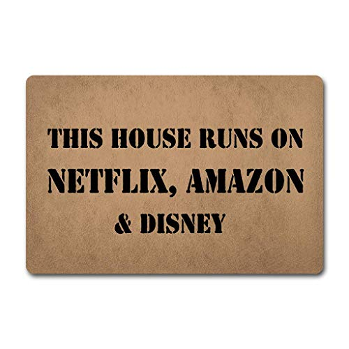 LVOE TTL Lustige Worte Sagen, DASS Dieses Haus auf Netflix Amazon und Disney Humor Polyester Willkommen Fußmatte Teppich Indoor Mats Decor Teppich für Home/Office/Schlafzimmer Skiding-Prooof Laufen
