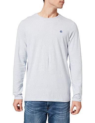 Springfield Camiseta Manga Larga Textura, Azul Medio, S para Hombre