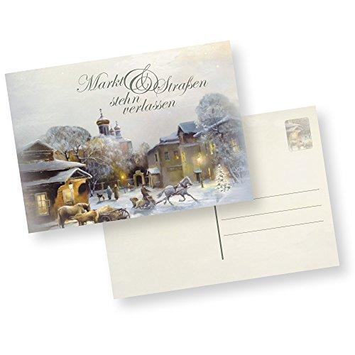 Postkarten Weihnachten Winter-Aquarell (25 Stück) nostalgische Weihnachtspostkarten DIN A6