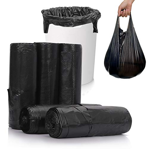 Skycase Trash Bags, Garbage Bags, 5 Rolls 100 counts [Extra Thick][Leak Proof] Rubbish Bags Wastebasket Bin Liners for Home Office Trash Can Black