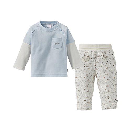 Bornino Basics Schlafanzug lang Wolken - Baby-Pyjama mit Langarmshirt & Hose mit aufgenähter Kängurutasche & fixiertem Einschlagbund - blau