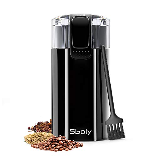 Sboly Coffee Grinder with Cleaning Brush, 2oz Coffee Bean Grinder also for Spice, Dry Herbs and More, Electric Coffee Grinder with Stainless Steel Blades