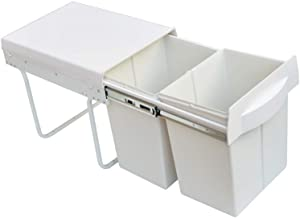 Pull Out Bin Kitchen Double Dual Slide Garbage Rubbish Waste 2X20L - White