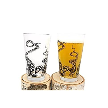 Pint Glasses - Octopus Tentacles - Set of Two Screen Printed Pint Glasses