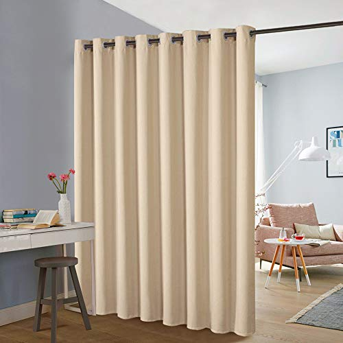 PONY DANCE Room Divider Curtains - Bedroom Partition Sliding Loft Extra Wide Blackout Curtains Portable Panel for Sliding Door & Shelves, Greyish White, Single Piece, Long 8' by Wide 15'