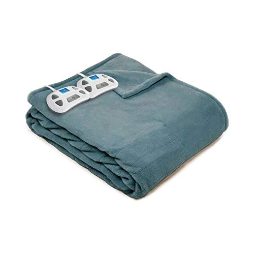 Review Plush Electric Heated Warming Blanket Queen Bay Blue Solid Color Casual Microplush