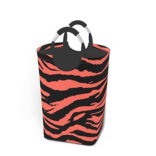 Tiffany Church Cesta de lavandería Mediana con Tiras de Tigre y Cebra, Bolsa de lavandería para Dormitorio con Asas, Cubo de Lavado portátil Impermeable, Plegable