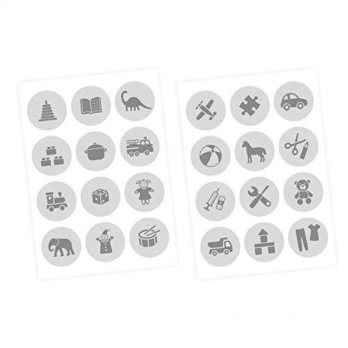 Meubelsticker Bestel Sticker voor Speelgoed GRAU Kwekerij Opslag Speelgoed Eenvoudig aan te brengen en Verwijderbaar