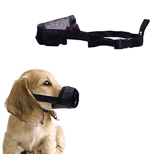 Maotrade - Museruola per cani, misura media, per evitare che si mordano, masticino e mangiare, traspirante e resistente, in nylon con collare regolabile e cuscino (M, nero)