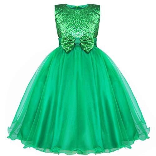 IEFIEL Vestido Fiesta Boda Dama de Honor Cumpleaños Niña Vestido Princesa Traje de Ceremonia Elegante Vestido Largo con Lentejuelas Tutú 2-14 Años Verde 7-8 años
