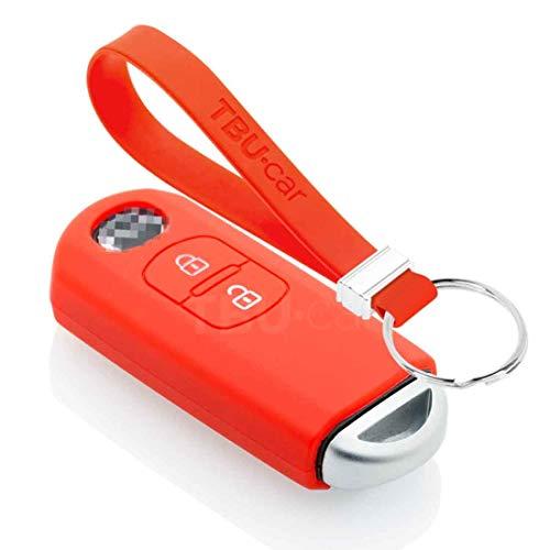 TBU car Funda Carcasa Llave Compatible con Mazda - Funda de Silicona - Cover de Llave Coche - Rojo