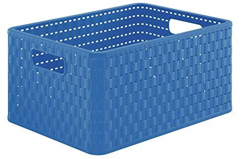Rotho Country Aufbewahrungbox in Rattan-Optik 18 l, Kunststoff (PP), blau, Box A4