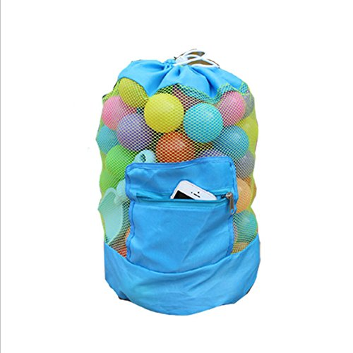 Bolsa de malla grande para niños, de BETTERLE, mochila con cordón para la playa, natación, juguetes de piscina, voleibol, fútbol, para mantener la arena al agua alejadas, azul