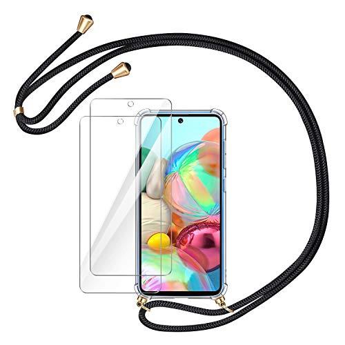 AROYI Handykette Handyhülle + 2 X Panzerglas Schutzfolie für Samsung Galaxy A71 Hülle mit Kordel zum Umhängen Necklace Hülle mit Band Schutzhülle Transparent Hülle für Samsung A71 (Schwarz-golden)