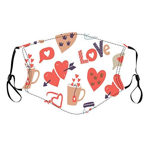 Looekveoyi Pañuelo para la cara con estampado de corazón para mujer, lavable, reutilizable, suave, orejeras, funda de algodón para la cara para parejas al aire libre