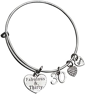 Infinity Collection 30th Birthday Gifts for Women, 30th Birthday Charm Bracelet, Adjustable Bangle, Perfect 30th Birthday Gift Ideas