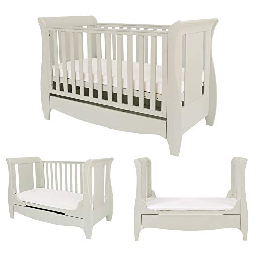 Tutti Bambini Roma Wooden Sleigh Cot Bed with Space Saver Under Bed Drawer - 120 x 60cm 3 Adjustable Positions (Linen)