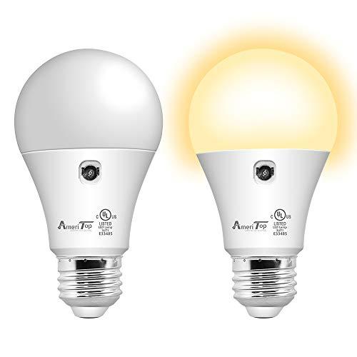 Dusk to Dawn Light Bulb- 2 Pack, AmeriTop A19 LED Sensor Light Bulbs; UL Listed, Automatic On/Off, 800 Lumen, 10W(60 Watt Equivalent), E26 Base, Indoor/Outdoor Lighting Bulb (3000K Warm White)