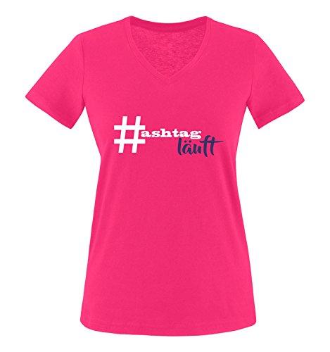 Comedy Shirts - # Hastag läuft - Damen V-Neck T-Shirt - Pink/Weiss-Lila Gr. XXL