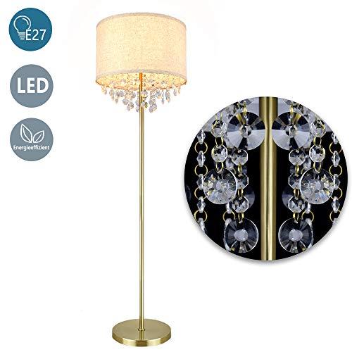 Depuley Led Stehleuchte G9 Kristall Gold, Moderne Stehlampe Warmweiß E27 Basis mit 9W Birne, 720LM, 3000K, 100-240V für Sofas, Schlafzimmer, Esszimmer, Studio