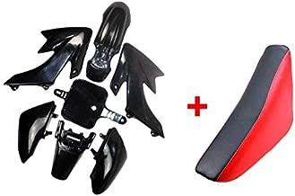 ZXTDR Plastic Body Fairing Kit and Tall Seat For CRF XR CRF50 XR50 50s 50cc 70cc 110cc 125cc Dirt Pit Bike (Black+Red)